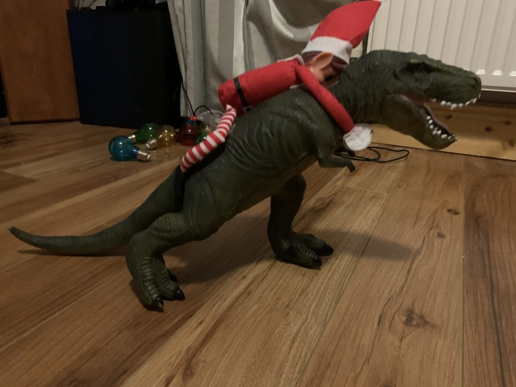 Elf, called Zipidy is sitting on the dinosaur's back going for a ride. It was put in Méabh's room.