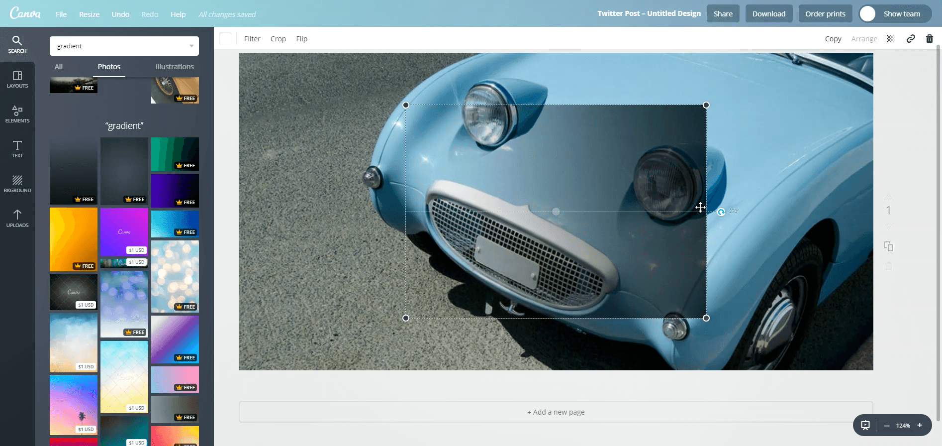 How to add a gradient in Canva