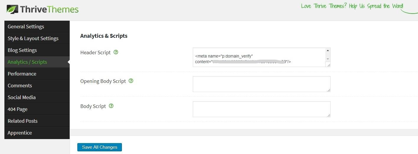 Theme options insert header script