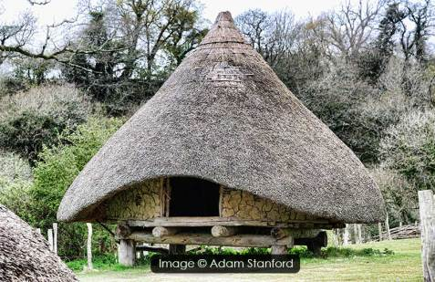 Four post structure, Castell Henllys, Pembrokeshire. Image © Adam Stanford.
