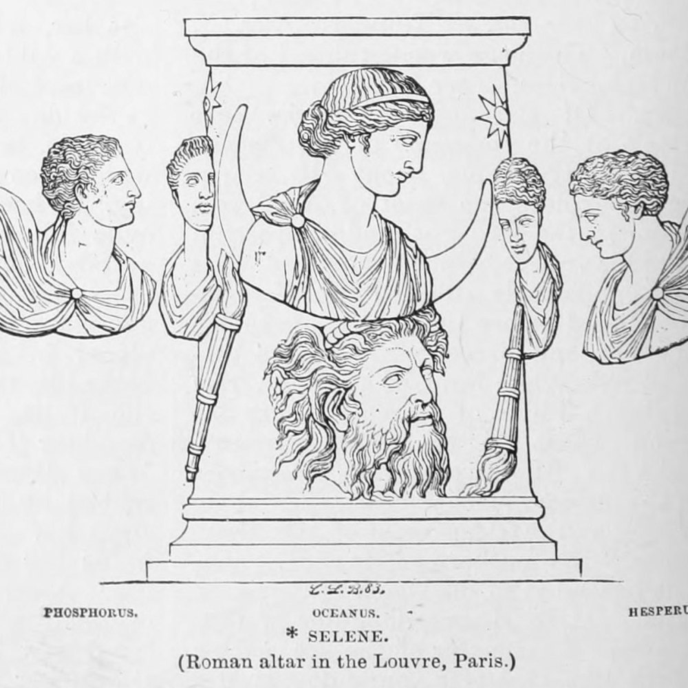 Illustration of the Roman altar at the Louvre, featuring Selene, Oceanus, Phosphorus (left) and Hesperus (right). Taken from Harper's Dictionary of Classical Literature and Antiquities (1896), edited by Harry Thurston Peck.