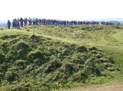 04 - Badbury Rings ramparts with group.