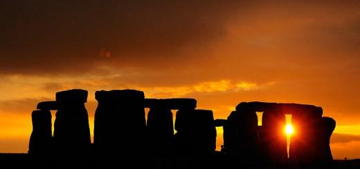 Stonehenge orange sunset