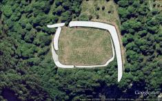 Burrington Camp from above. White graphic represents the position and extent of the ramparts.