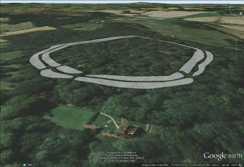 Bussock Camp plan overlayed in Google Earth.
