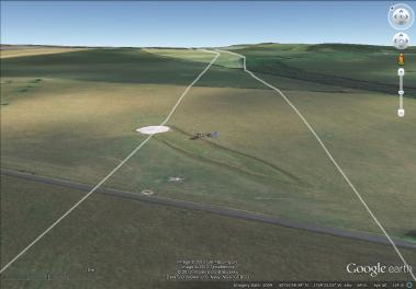 Image 4 - The River Cliff in Google Earth, with the Cursus mapped in.