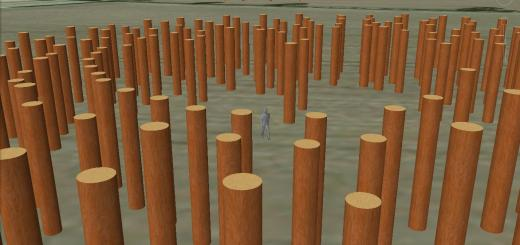 'Woodhenge' timber circle, interior.