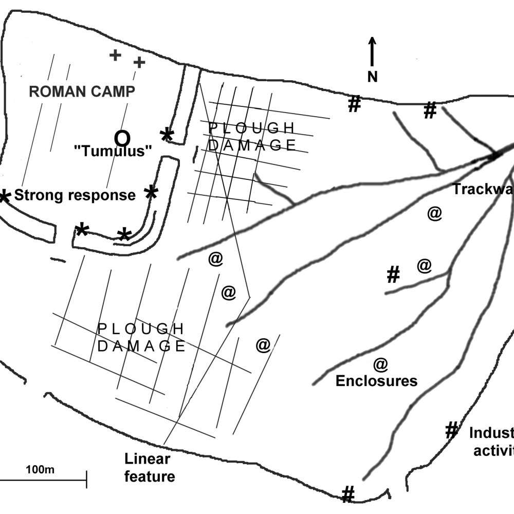 Hod Hill: sketch plan of the key features mentioned in the text (Dave Stewart)