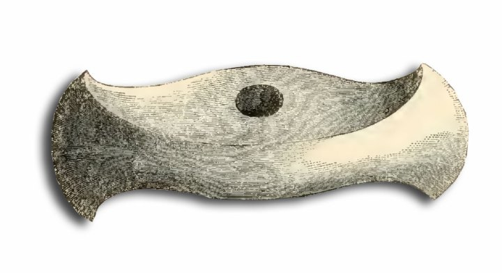 The 'celt' (axe head) found in the Hove Barrow. Drawn by Mr. George De Paris.