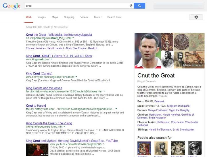 Cnut/Giggs results.