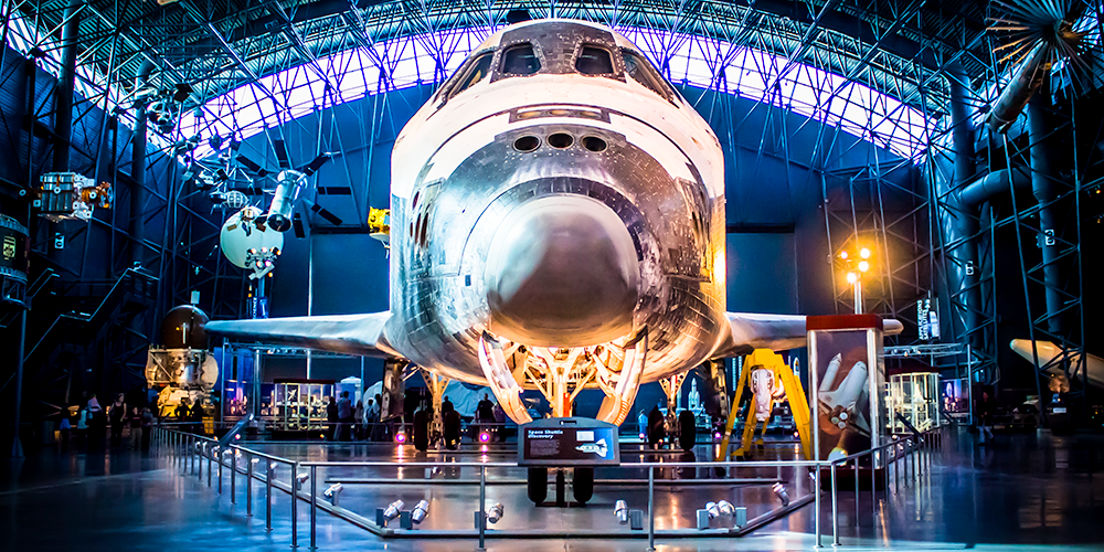 The space shuttle Discovery at the Smithsonian Udvar-Hazy museum.