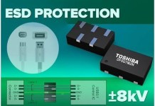 Toshiba's new multi-bit, low-capacitance ESD protection diodes are designed for high-speed interfaces in mobile devices.