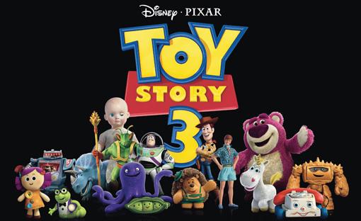 Gruppenbild der vierzehn neuen Charaktere aus Toy Story - zusammen mit Woody