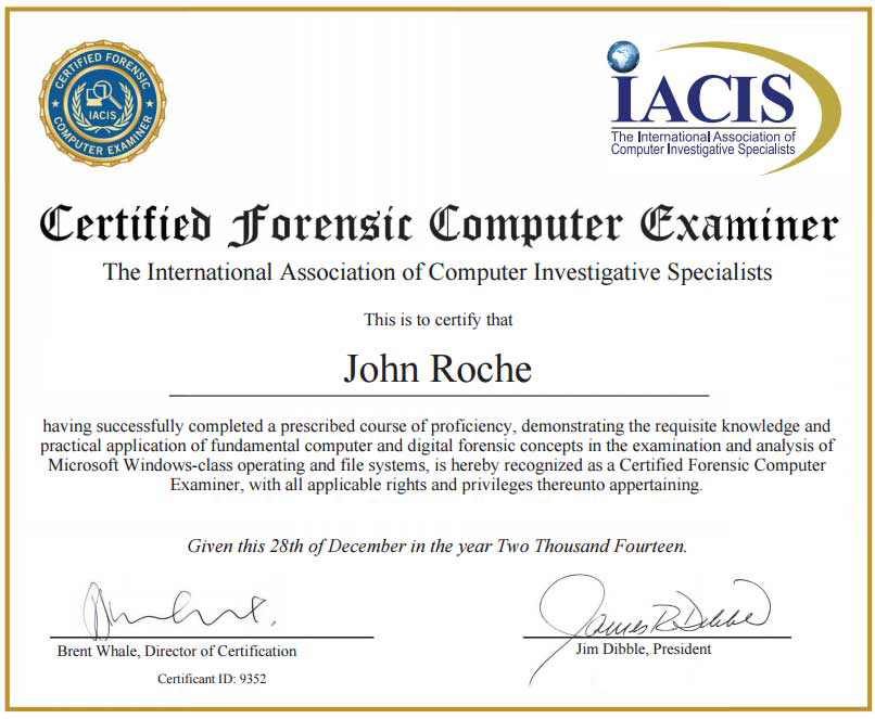 Certifications  Digital Forensics Corporation  Digital Forensics Corporation