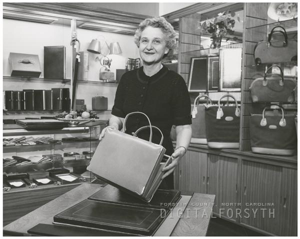 May Belle Jones in Bocock-Stroud Store, 1956.