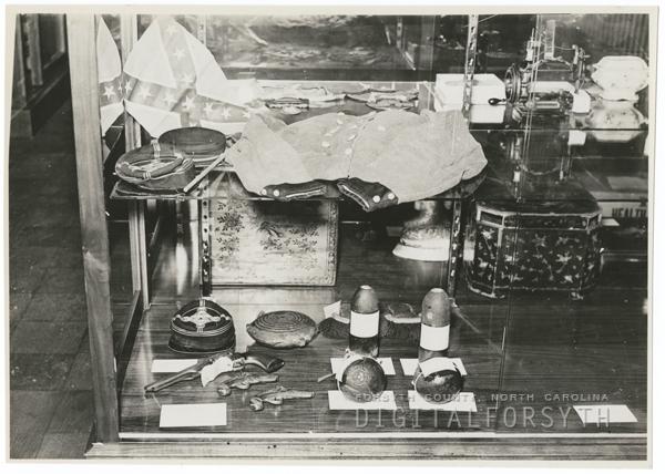 Confederate relics in the Wachovia Museum, 1938.