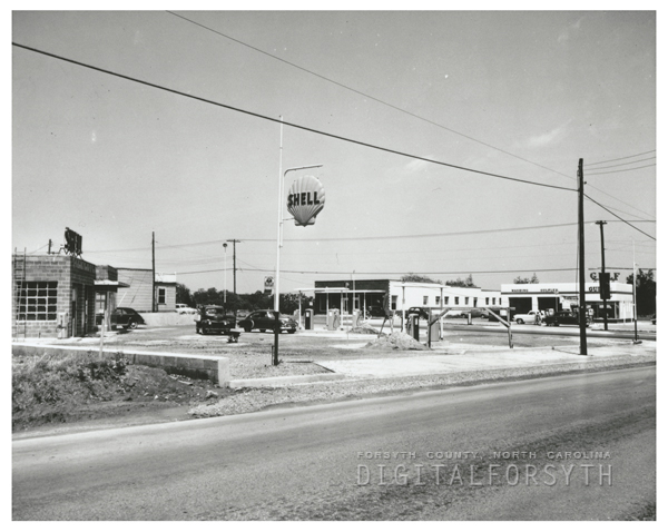 Quality Oil Company. Shell Service Station at 3516 S. Main Street at Clemmonsville Road, under construction.