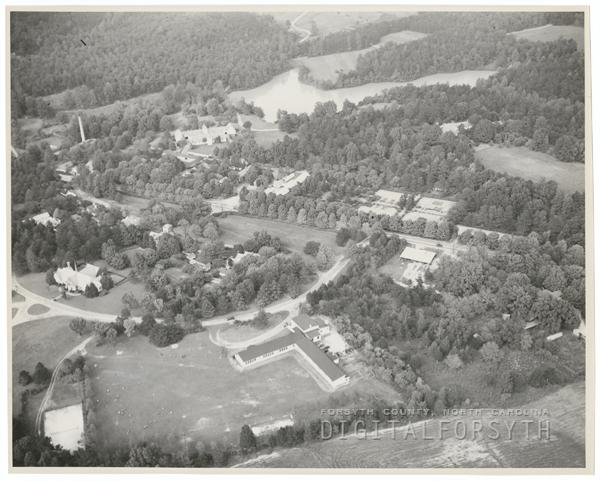 Aerial of Reynolda Road near the Reynolda Estate and Summit School.