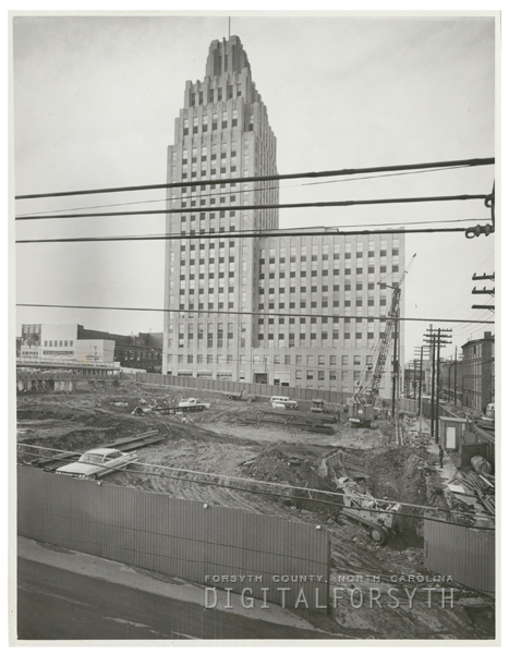 Beginning work on the new Wachovia Bank Building, 1963.
