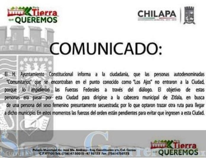 comunicado chilapa