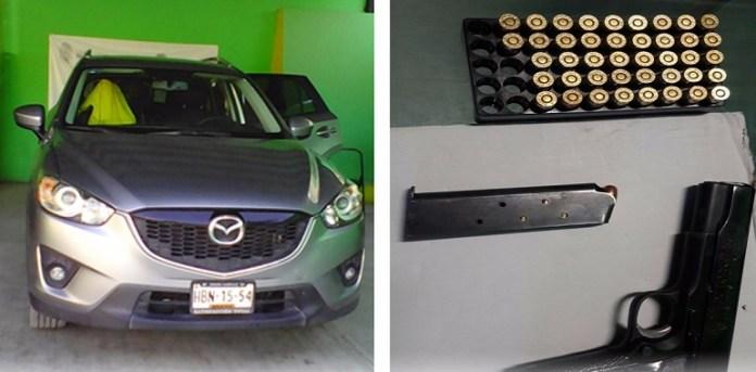 Asegura Policía Estatal en Chilpancingo un vehículo y armamento