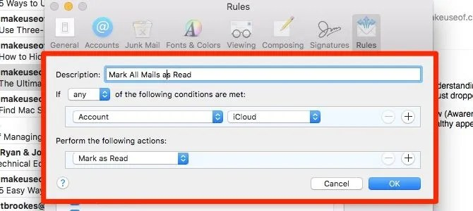 mark all as read - apple mail rules