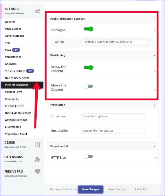 Amp Push Notifications Setting
