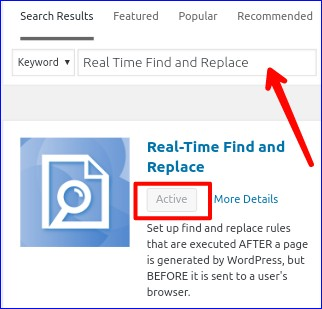 install and real time find replace plugin