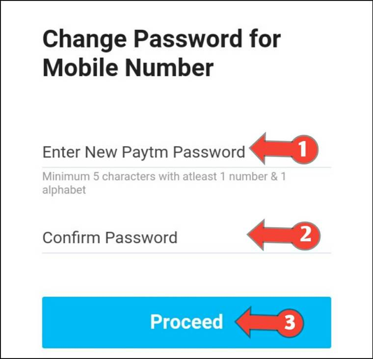Create New Paytm Password