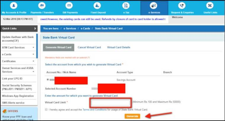 enter sbi virtual card amount