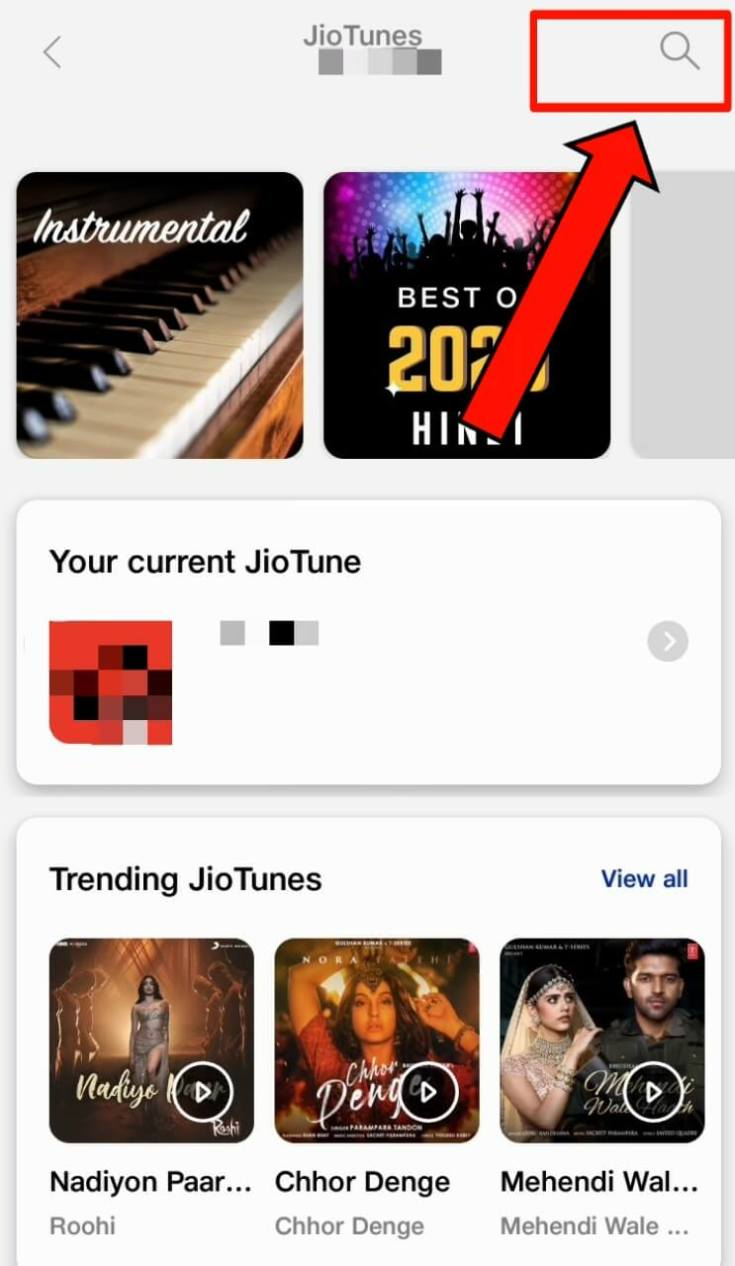 Jio Tunes Search Option in MyJio App