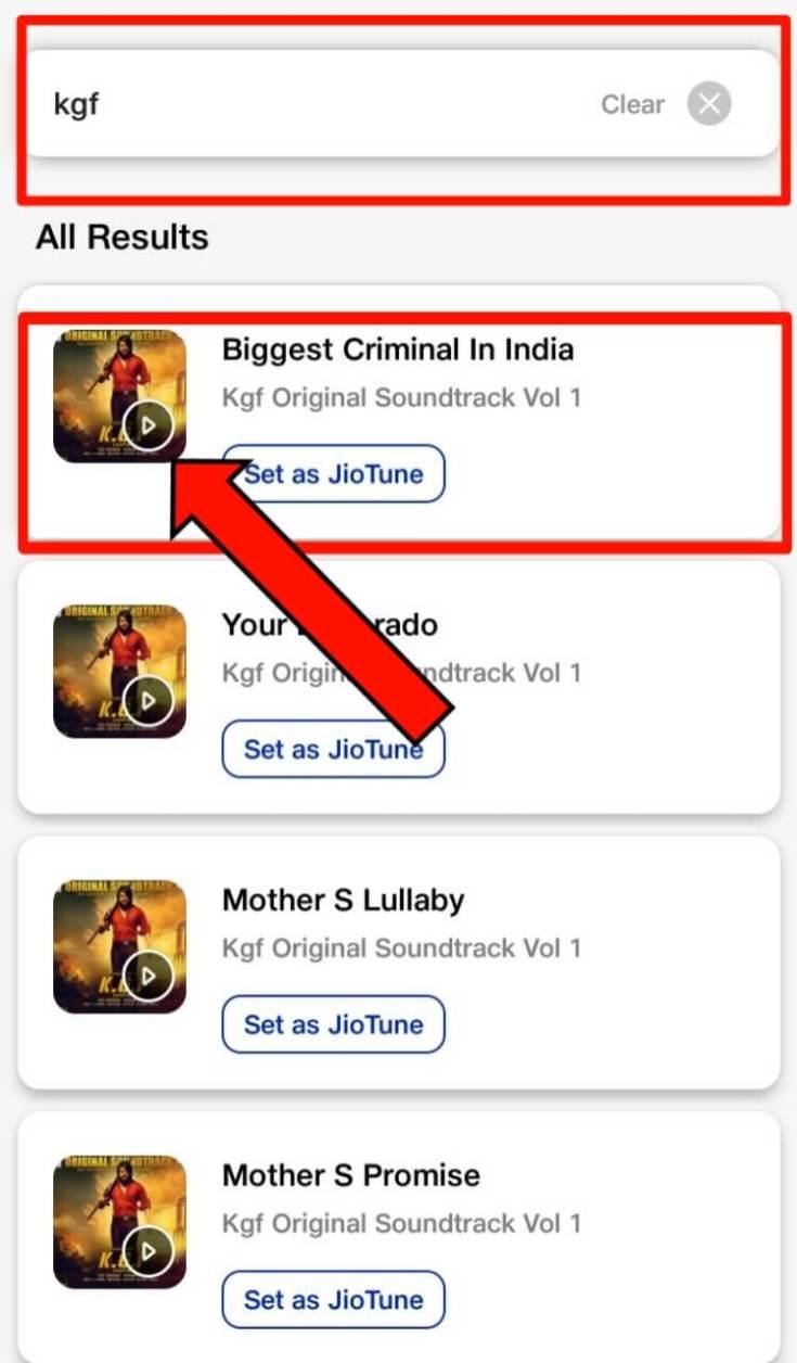 Search the Jio Tune in My Jio App