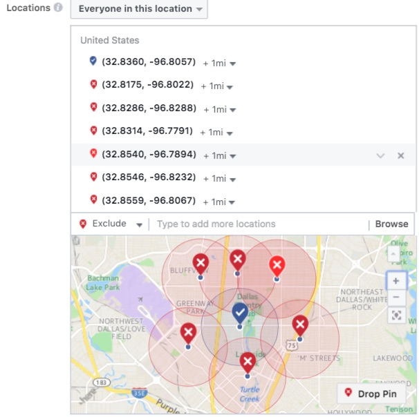 Facebook geofencing and geo targeting with location exclusions 3