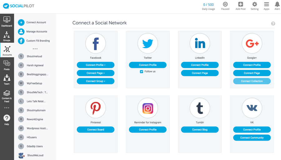 Social Pilot Dashboard