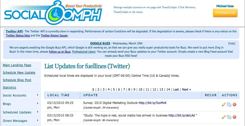 SocialOomph Dashboard