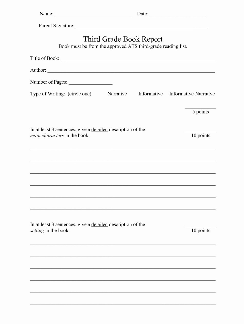 medium resolution of 3rd Grade Book Report Worksheet   Printable Worksheets and Activities for  Teachers