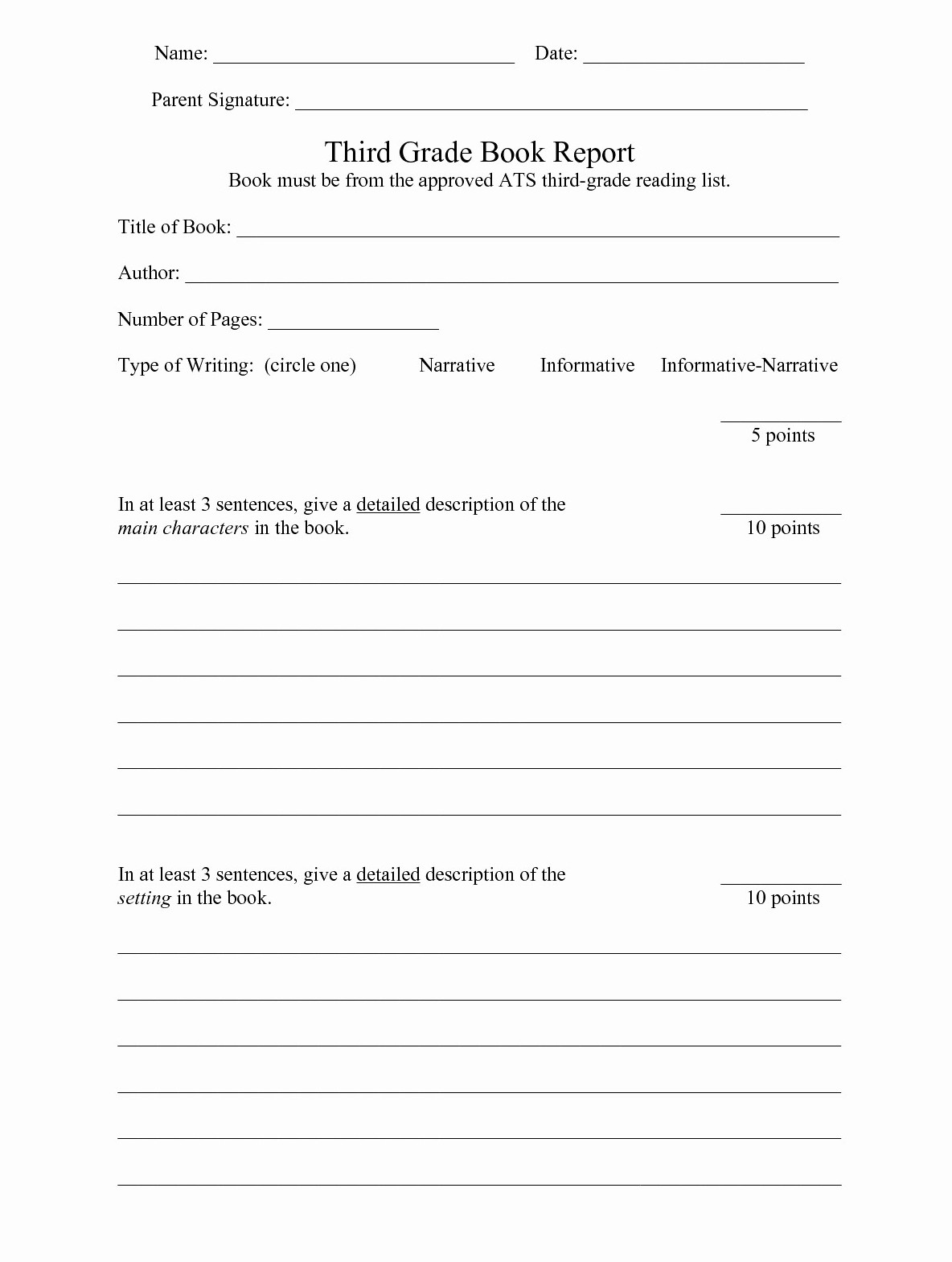 hight resolution of 3rd Grade Book Report Worksheet   Printable Worksheets and Activities for  Teachers