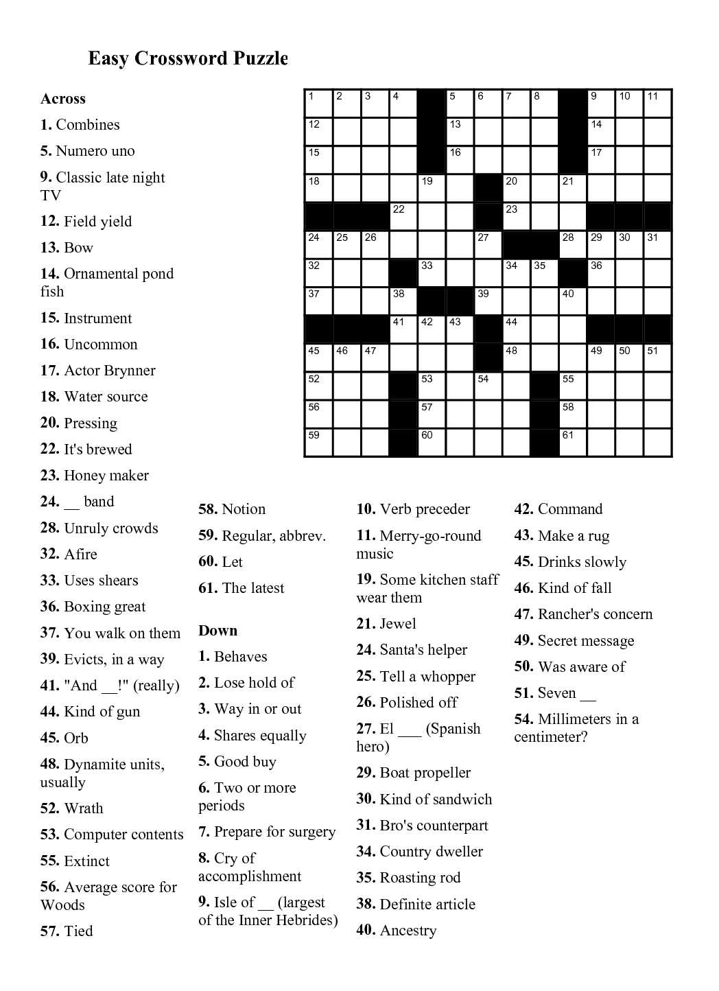 Easy Crossword Puzzles Printable Daily Template