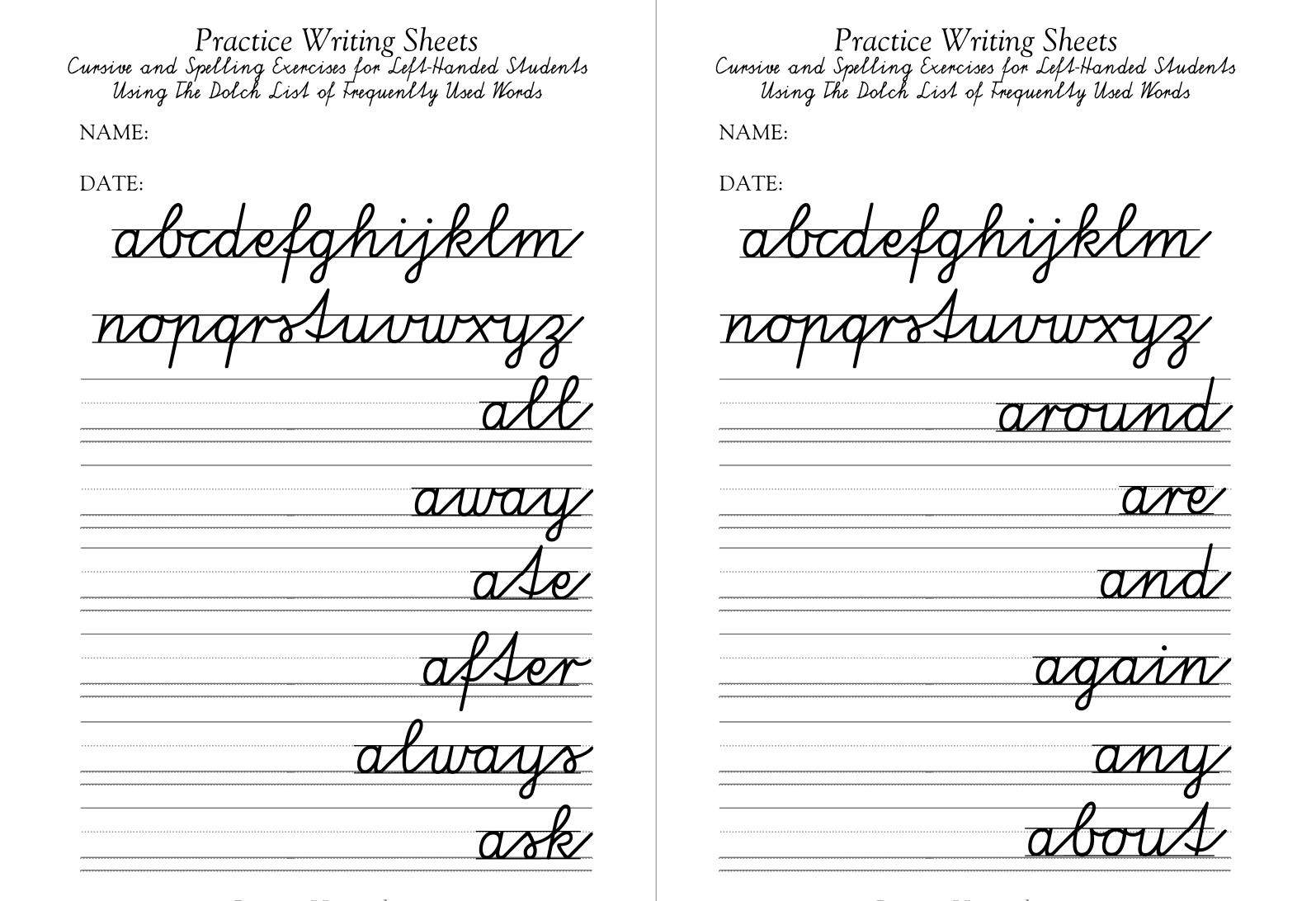 Penmanship Practice Sheets For Adults Amp Kindergarten