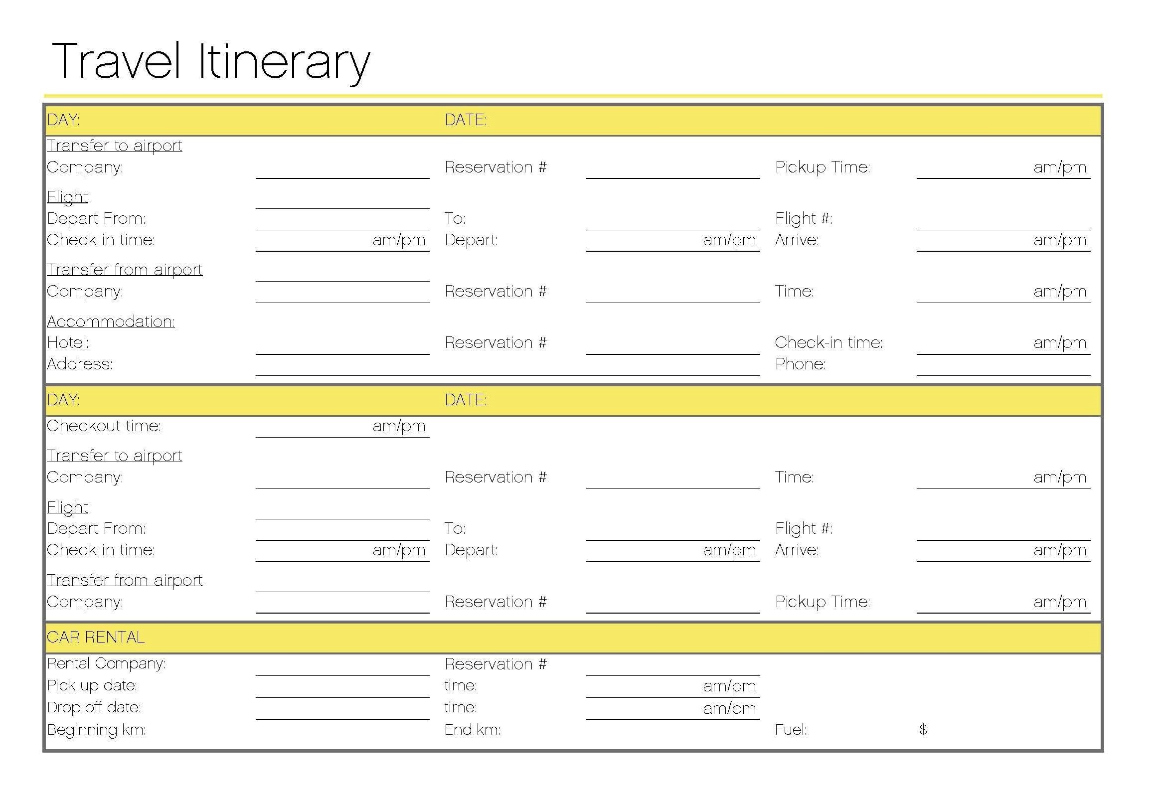Business Trip Travel Itinerary Template