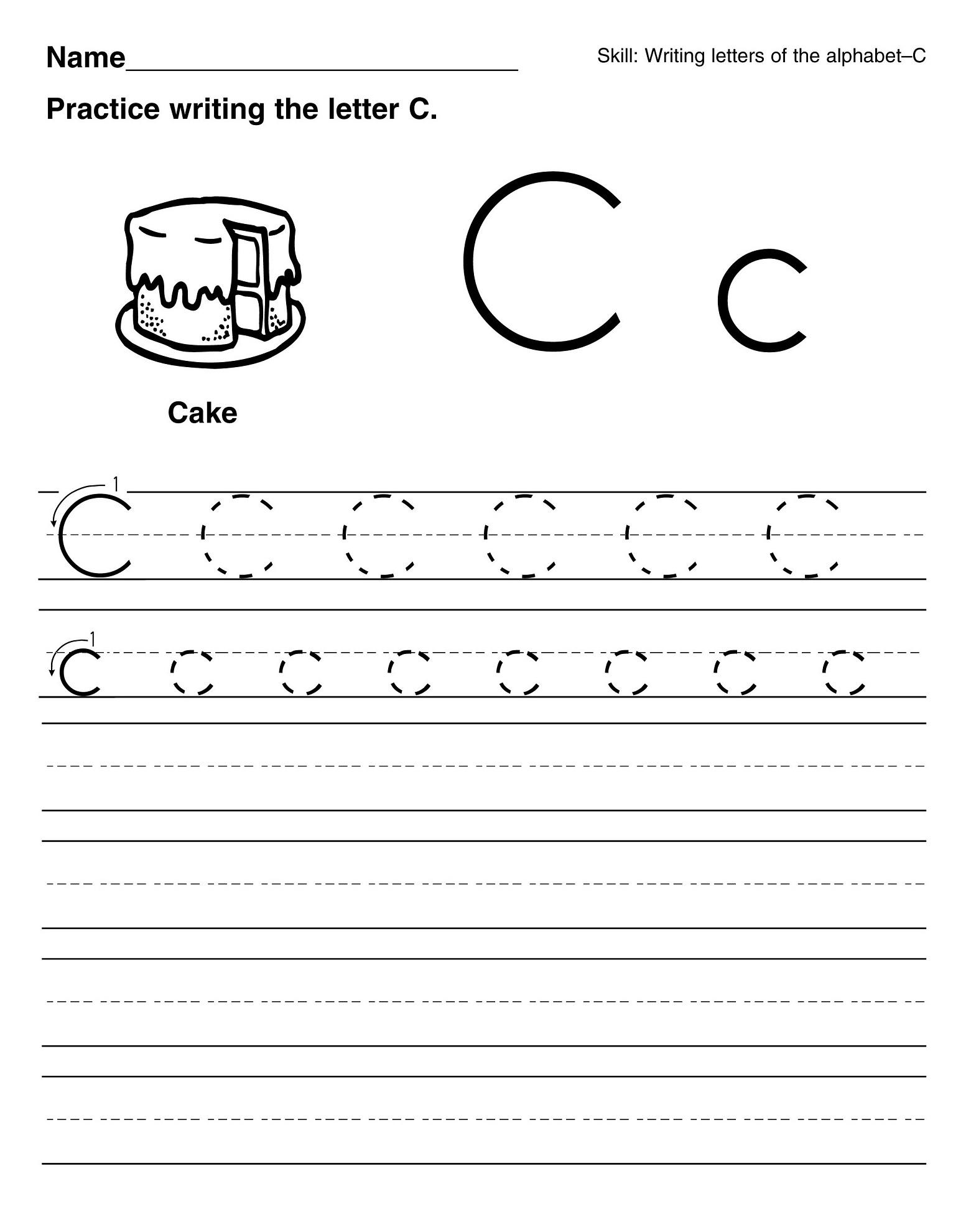Printable Letter C Worksheets For Kindergarten Preschoolers