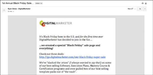 DigitalMarketer email WITHOUT a CTA button within the body