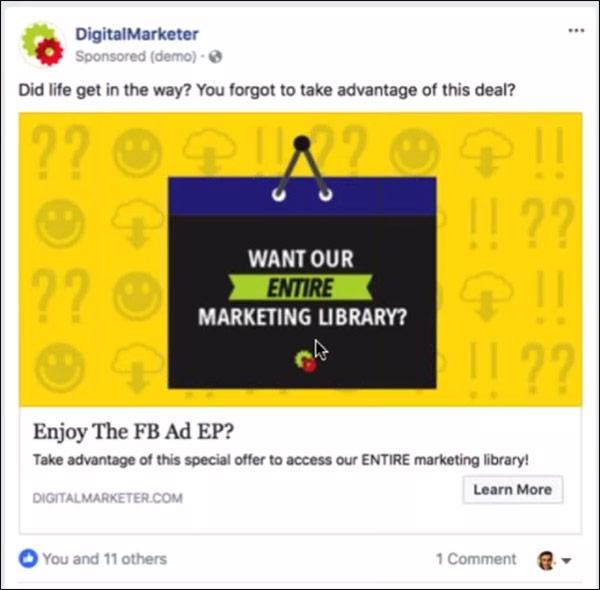 a DigitalMarketer facebook ad