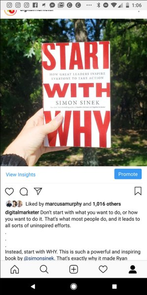 """Instagram post picture of a book: Simon Sinek's """"Start With Why"""""""