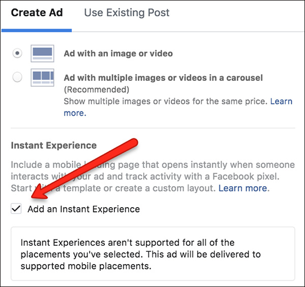 """Check the box next to """"Add an Instant Experience"""""""