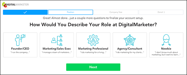 A form field customers fill out when signing up for the free version of DigitalMarketer Lab