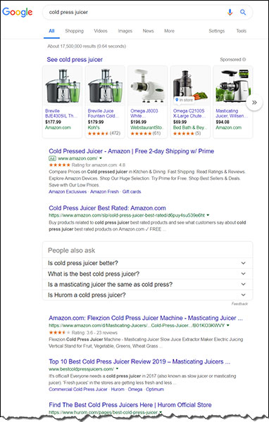 digital marketing example of google search for juicer