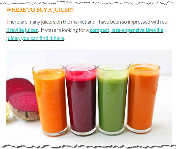 digital marketing example of blog post about buying a juicer