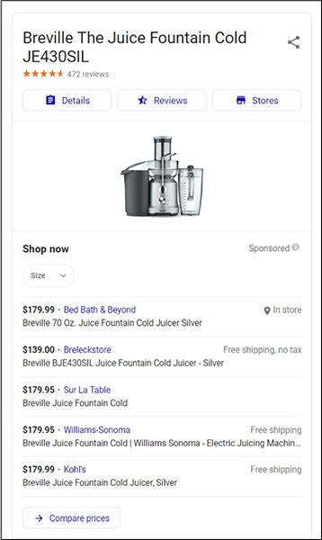 digital marketing example of search for specific juicer brand