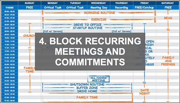 Block recurring meetings and commitments